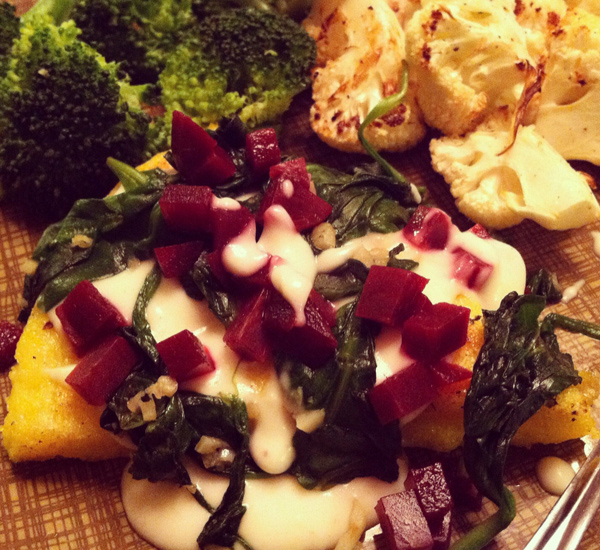 cauliflower steaks with roasted pepper and tomato salad polenta wedges ...