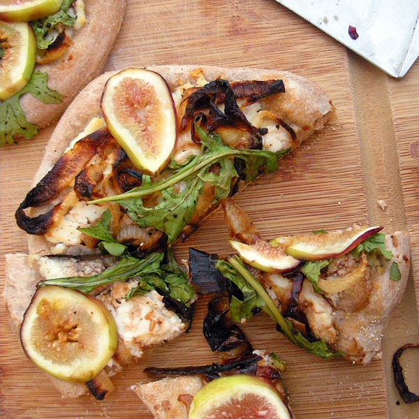 caramelized onion and fig pizzas