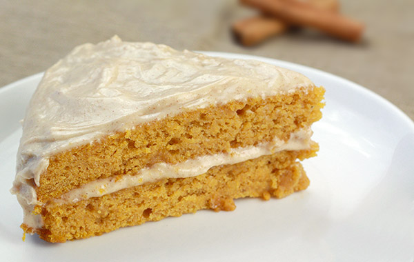 lightened up pumpkin cake with maple cinnamon cream cheese frosting