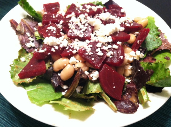 red beet and bean salad with goat cheese