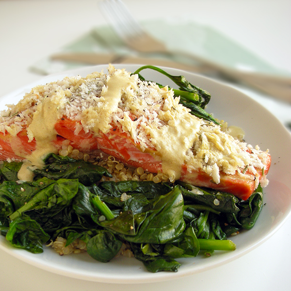 panko-topped salmon with dijion sauce