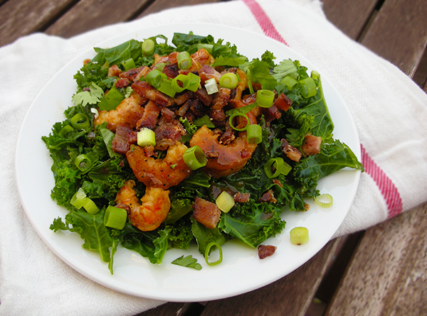 BBQ Bacon Shrimp with Kale
