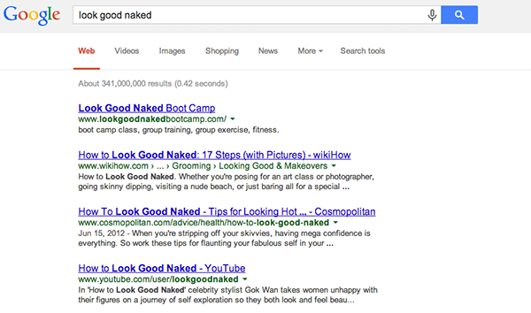 """Look Good Naked"" Google Search Results"