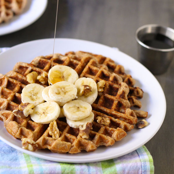Bananas, walnuts, and spices deepen the flavor of a protein waffle mix ...