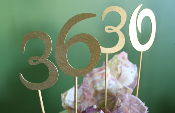 Gold Number Birthday Cake Toppers
