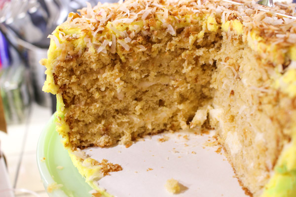 Pina Colada Cake with Toasted Coconut